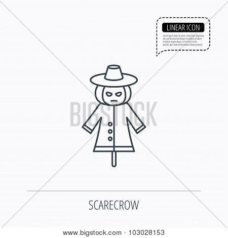 Scarecrow icon. Human with pumpkin head sign.