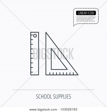Triangular ruler icon. Straightedge sign.