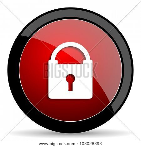 padlock red circle glossy web icon on white background, round button for internet and mobile app