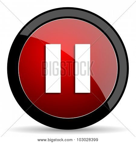 pause red circle glossy web icon on white background, round button for internet and mobile app