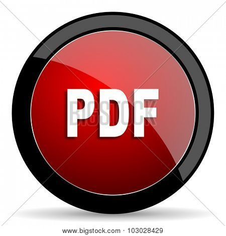 pdf red circle glossy web icon on white background, round button for internet and mobile app