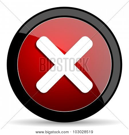 cancel red circle glossy web icon on white background, round button for internet and mobile app