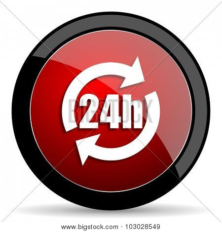 24h red circle glossy web icon on white background, round button for internet and mobile app