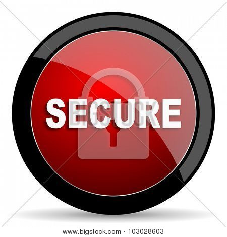 secure red circle glossy web icon on white background, round button for internet and mobile app