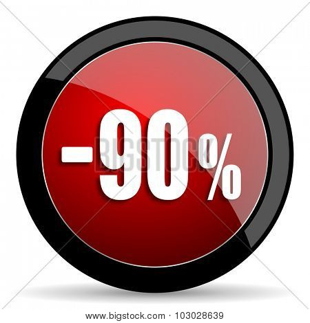 90 percent sale retail red circle glossy web icon on white background, round button for internet and mobile app