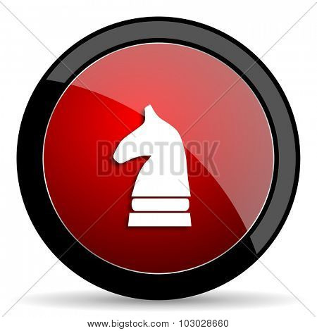 chess horse red circle glossy web icon on white background, round button for internet and mobile app