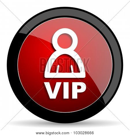 vip red circle glossy web icon on white background, round button for internet and mobile app