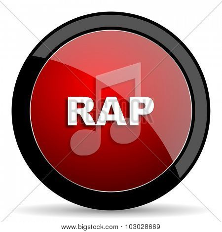 rap music red circle glossy web icon on white background, round button for internet and mobile app
