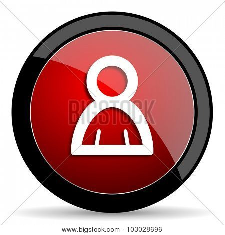 person red circle glossy web icon on white background, round button for internet and mobile app