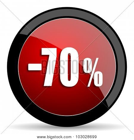 70 percent sale retail red circle glossy web icon on white background, round button for internet and mobile app