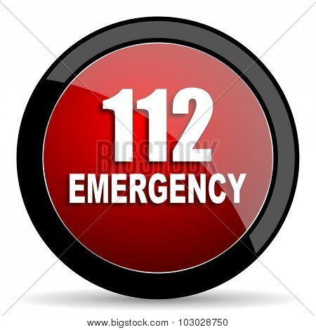 number emergency 112 red circle glossy web icon on white background, round button for internet and mobile app