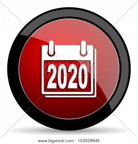 new year 2020 red circle glossy web icon on white background, round button for internet and mobile app