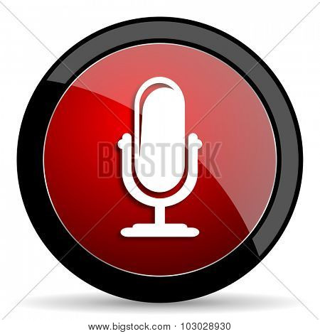 microphone red circle glossy web icon on white background, round button for internet and mobile app