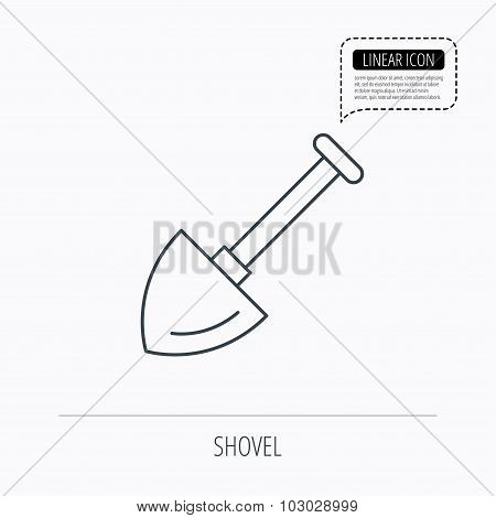 Shovel icon. Garden equipment sign.