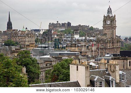 Edinburgh From Calton Hill Including Edinburgh Castle, Balmoral Hotel And Scott Monument , Uk