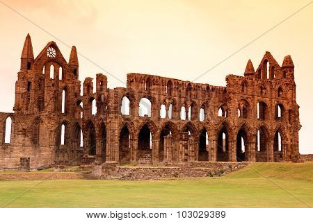 Whitby Abbey Castle, Ruined Benedictine Abbey Sited On Whitby's East Cliff In North Yorkshire On The