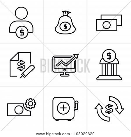 Line Icons Style  Finance Icon Set,vector