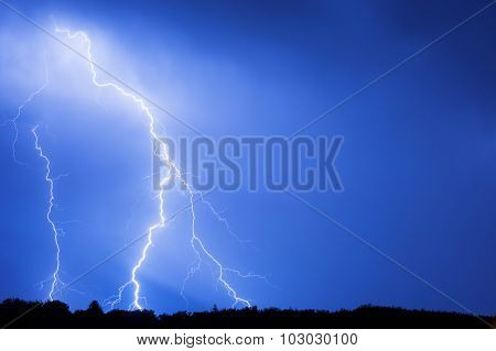 Lightning hits during the storm