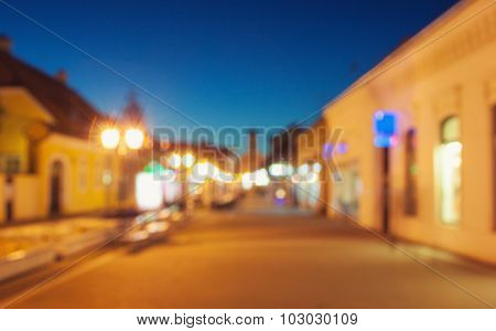 Blurred image of town in dusk