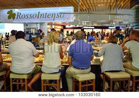 ROME, ITALY - AUGUST 16, 2015: Fiumicino Airport interior. Fiumicino - Leonardo da Vinci International Airport is a major international airport in Rome, Italy