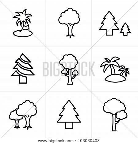 Line Icons Style Tree Icons Set, Vector Design