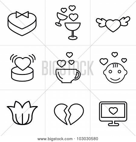 Line Icons Style Love  Icons Set, Vector Design