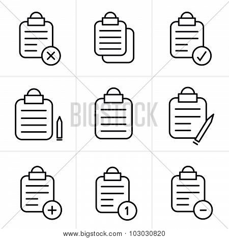 Line Icons Style  Vector Isolated Clipboard, List Icons Set
