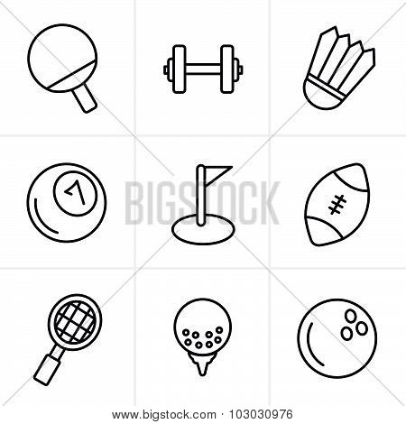 Line Icons Style Sport Icons Set, Vector Design