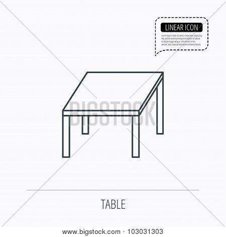 Table icon. Furniture desk sign.