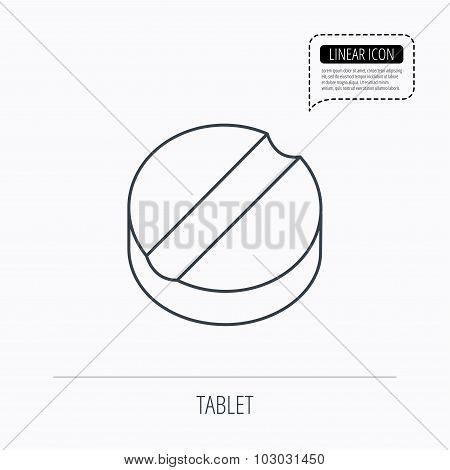 Tablet icon. Medicine drug sign.