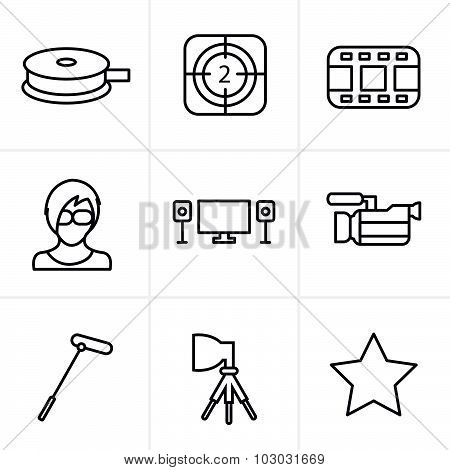 Line Icons Style Vector Black Movie Icon Set On Gray