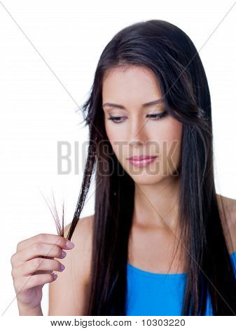 Disappointed Woman Because Of Tangled Hair