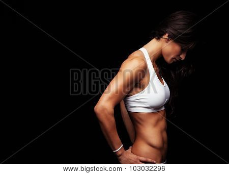 Fitness Female Model On Black Background