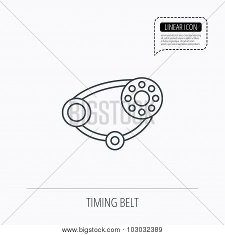 Timing belt icon. Generator strap sign.