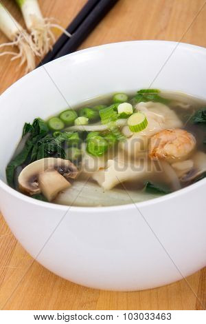 Wonton Soup With Shrimp And Vegetables
