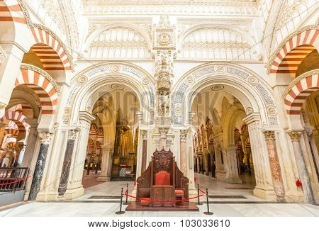 Cordoba, Spain- Jun 3: Architecture of the Mosqueâ??Cathedral of Cordoba on Jun 3, 2014. This is a medieval Islamic mosque that was converted into a Roman Catholic Christian cathedral.