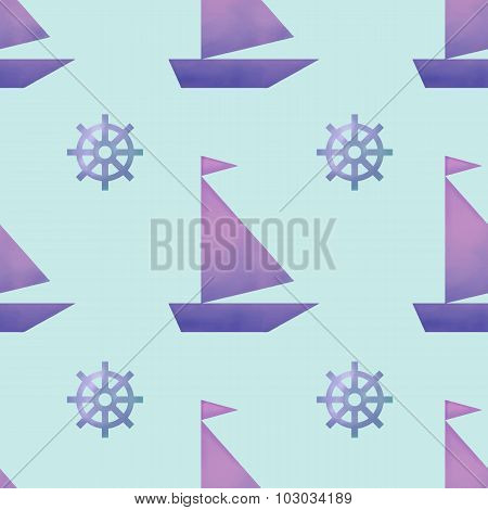Vector Seamless Pattern With Watercolor Boats And Helms