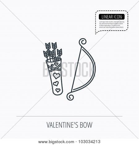 Amour arrows with bow icon. Cupid love symbol.