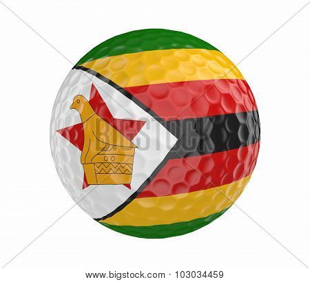 Golf ball 3D render with flag of Zimbabwe, isolated on white