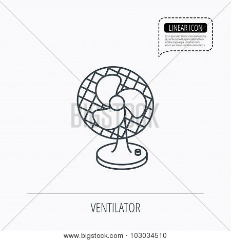 Ventilator icon. Fan or propeller sign.