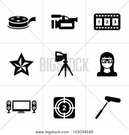 Vector Black Movie Icon Set On Gray
