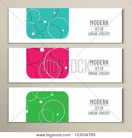 Set of covers with abstract circles and patterns