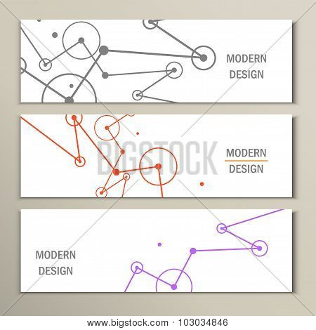 Molecule design template banner. Can be used for workflow layout, diagram, number options, web desig