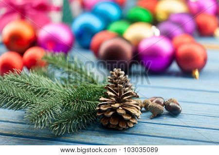 Pine Cone And Acorns With Christmas Toys