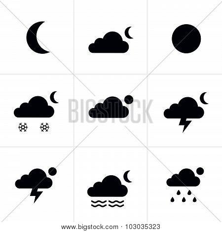 Set Of Night Weather Icons