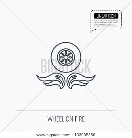 Car wheel icon. Fire flame symbol.