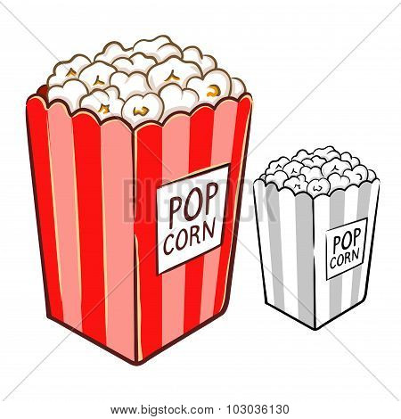 Popcorn Hand Drawing Illustration
