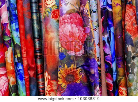 Chinese Colorful Flower Silk Scarves Yuyuan Shanghai China