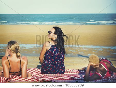 Friends Freedom Summer Beach Vacations Concept
