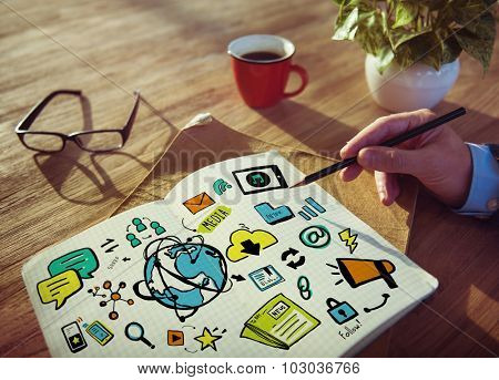 Businessman Media Technology Planning Working Concept